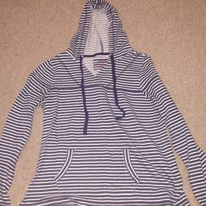 Sonoma navy blue white striped hoodie medium